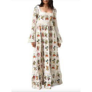 NEW Agua Bendita Curuba Frutas Linen Maxi Dress XS